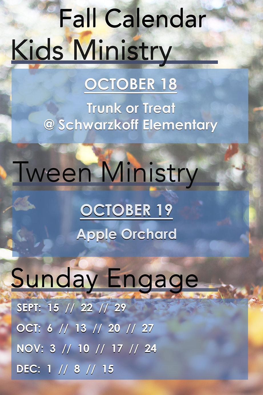 Kids - Tween Ministry FALL 2019 Calendar
