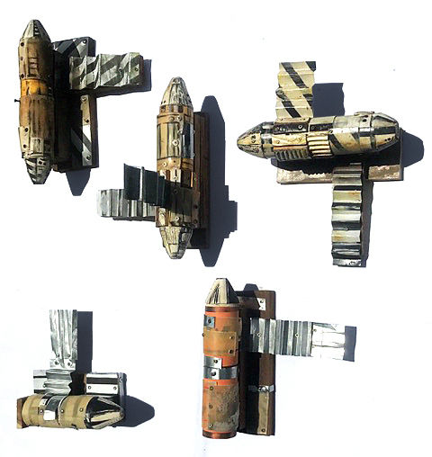 Third World Mini Space Modules, 2021 Acrylic on recycled wood, pvc pipes, steel sheet and