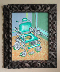 WHEELCHAIR OF A NARC ACRYLIC ON WOOD AND ANTIQUE FRAME 40 X 30 CMS