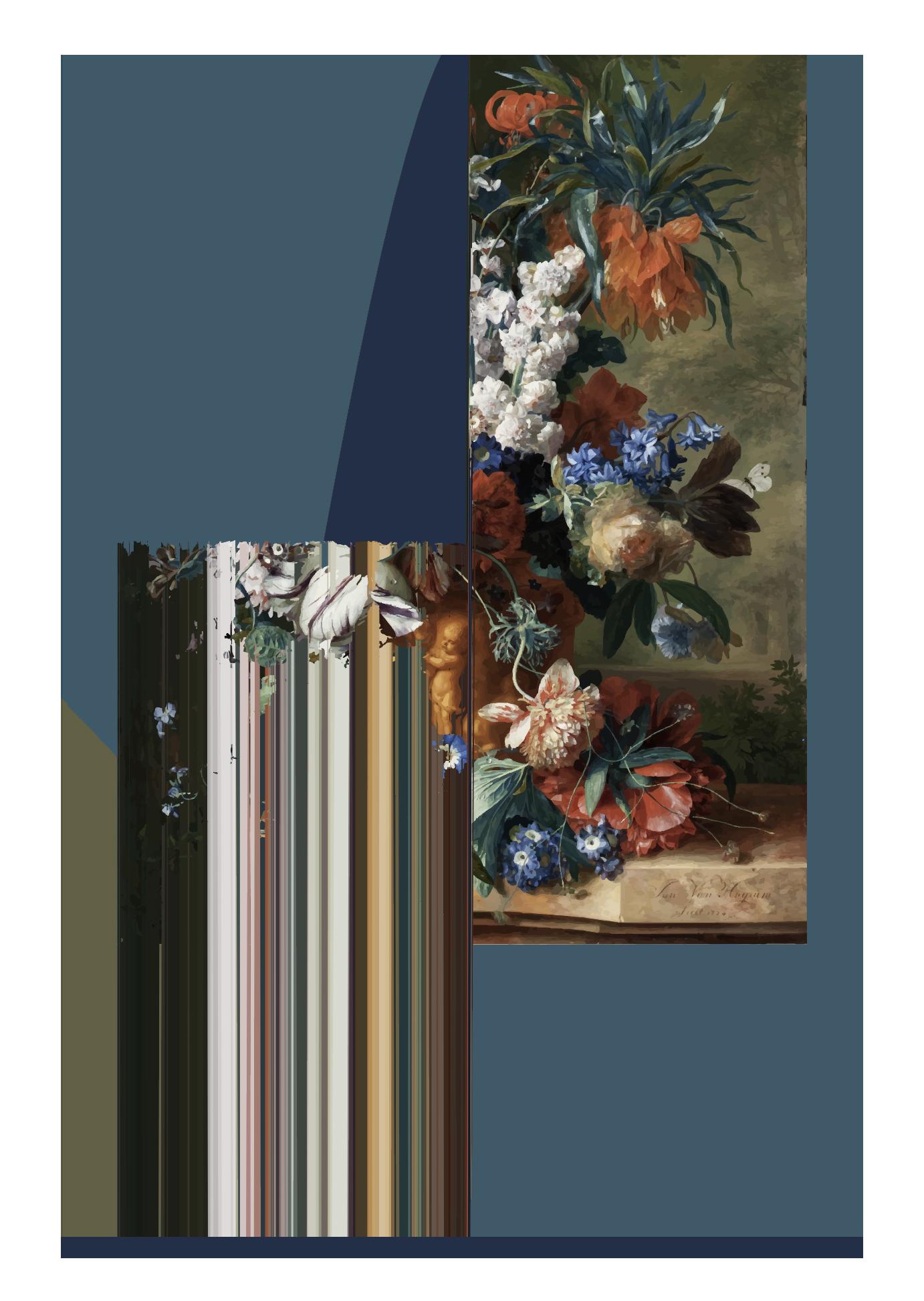 florero azul 120x80