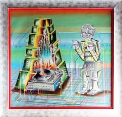 TRANSFORMER AZTEC GODDES WITH PYRAMID 2015 ACRYLIC ON CANVAS 130 X 130 CMS
