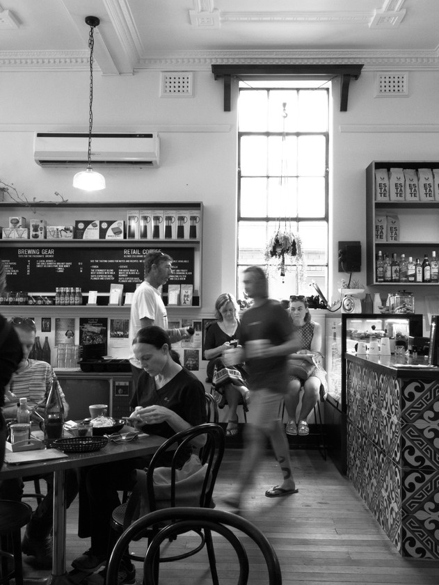 Busy Cafe Black & White