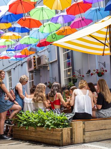 The Bank Cafe Laneway Umbrella Installation