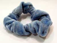 The blue scrunchie (mmm, I really must remember to wash it one weekend).