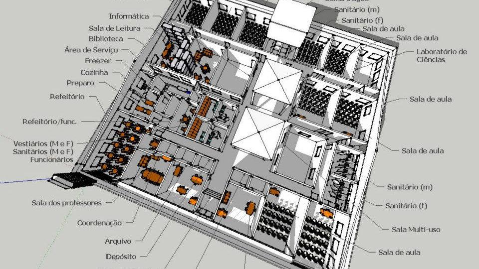 Projeto Arquitetônico para unidades escolares (valor por m²)