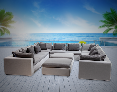 Bora Bora 12 Piece Sectional Seating Group with Sunbrella Cushions