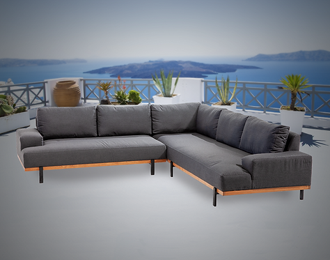 Barbados Teak 2 Piece Sectional Group with Sunbrella Cushions