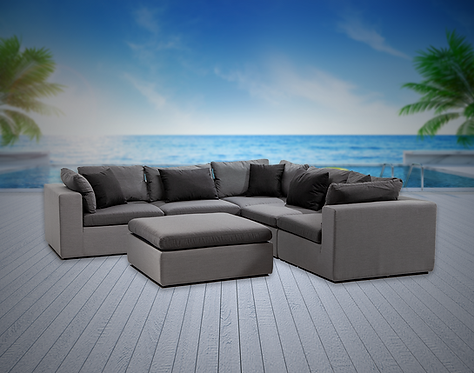 Bora Bora 6 Piece Sectional Seating Group with Sunbrella Cushions
