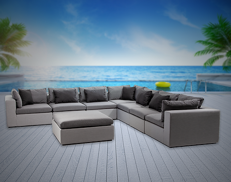 Bora Bora 8 Piece Sectional Seating Group with Sunbrella Cushions
