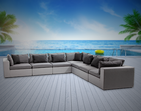 Bora Bora 7 Piece Sectional Seating Group with Sunbrella Cushions