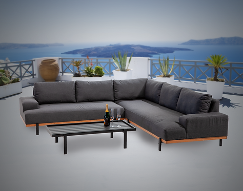 Barbados Teak 3 Piece Sectional Group with Sunbrella Cushions