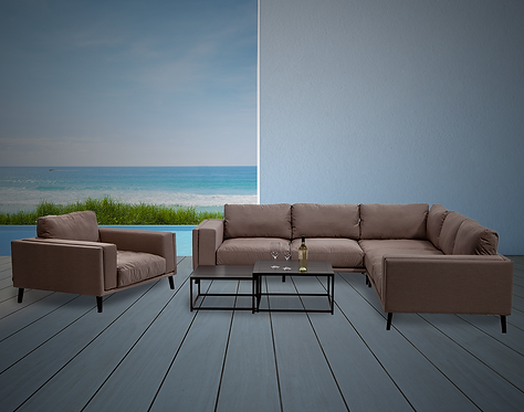Malibu 5 Piece Sectional Seating Group with Sunbrella Cushions