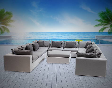 Bora Bora 11 Piece Sectional Seating Group with Sunbrella Cushions