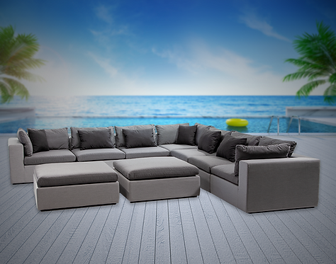 Bora Bora 9 Piece Sectional Seating Group with Sunbrella Cushions