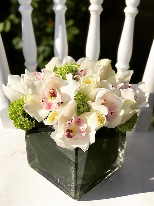 White orchid and rose arrangement