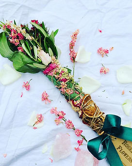 Flower smudge stick. Botanical incense.