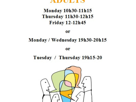 Conversation Class Adults Timetable