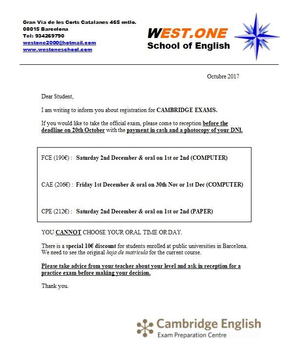 Explicamos la matrícula para los exámenes oficiales de Cambridge