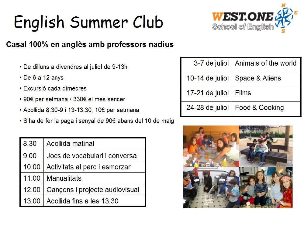 Casal de verano en inglés Barcelona