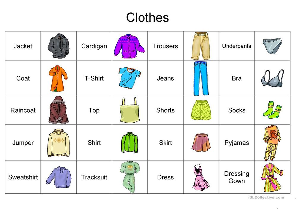 clothes vocabulary English