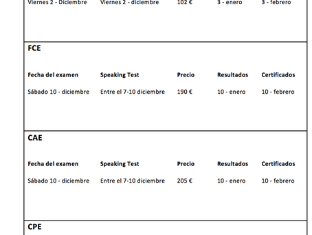 Fechas exámenes de Cambridge - Diciembre 2016