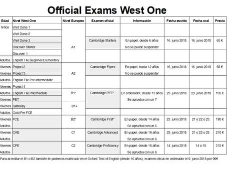 La fecha límite para apuntarte a un examen oficial es el 23 de abril