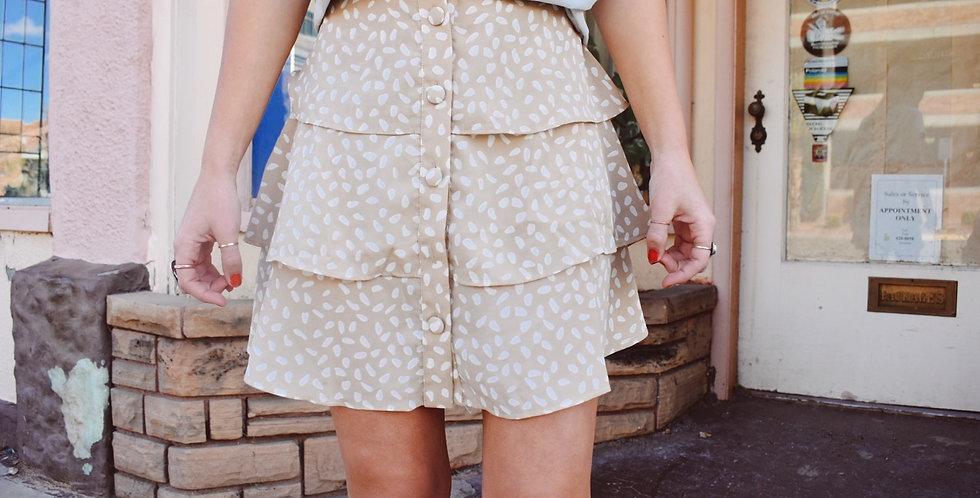 Pretty in beige tiered skirt