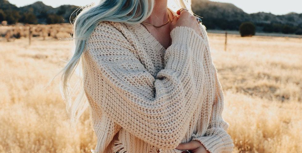 daisy cream sweater