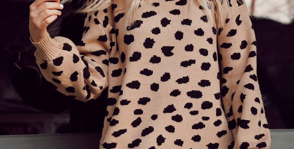 Spotted sweater dress