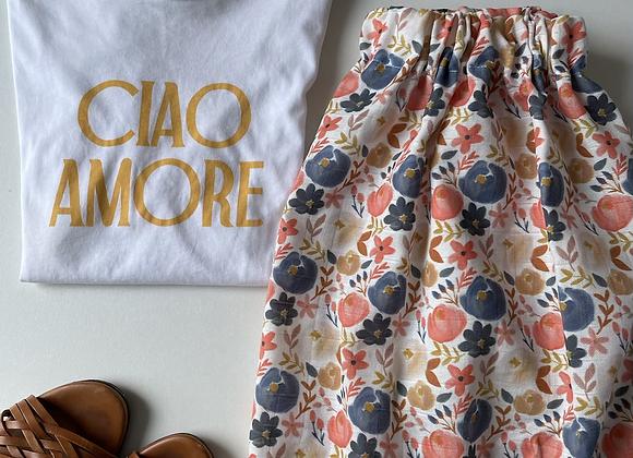 Jupe Femme gaze de coton biologique «Summer bloom»pré commande