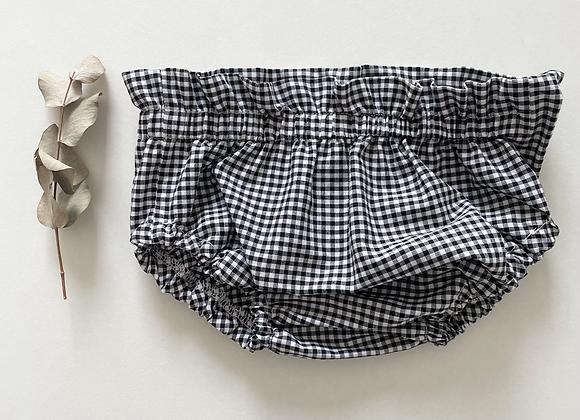 """Bloomer bébé/fille coton/taille froncée   """" Vichy noir&blanc"""""""