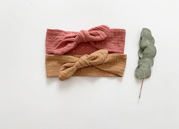 """Bandeau/chouchou """"gaze de coton/pois dorés """"(couleur au choix)"""