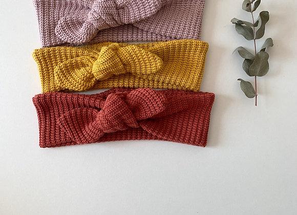 Bandeaux bébé/fille noeud  « Maille tricot » (Couleur au choix)