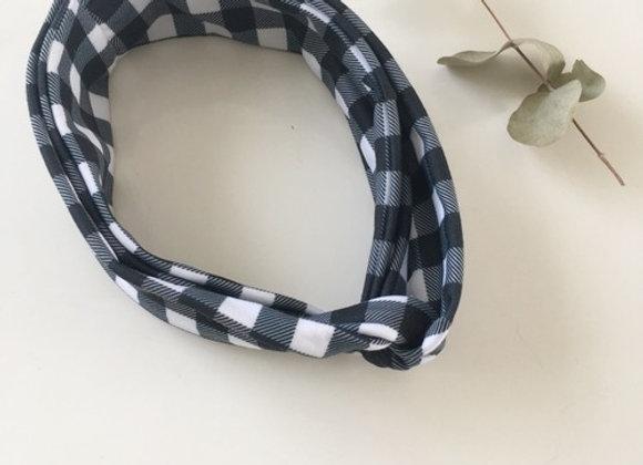 "Bandeau/headband turban ""Vichy noir & blanc """