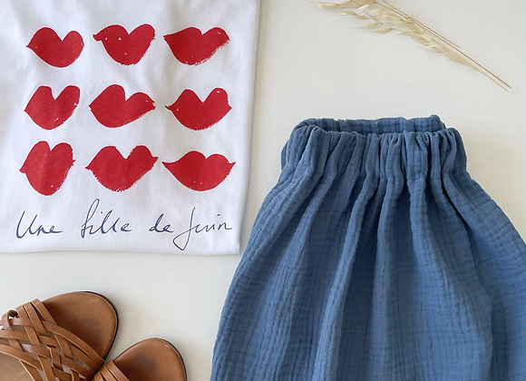 "Jupe Femme Gaze de coton ""Bleu Capri"""
