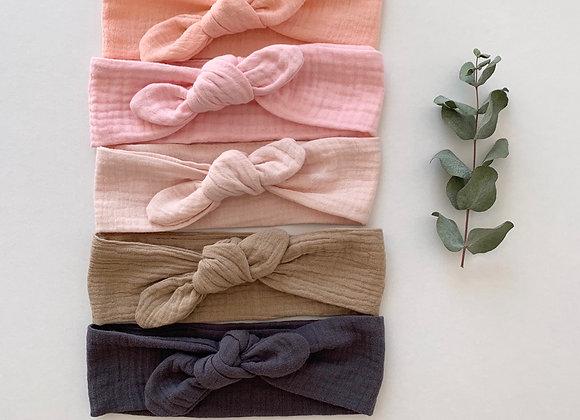 """Bandeau/chouchou  Uni """"Gaze de coton """"(couleur au choix)"""
