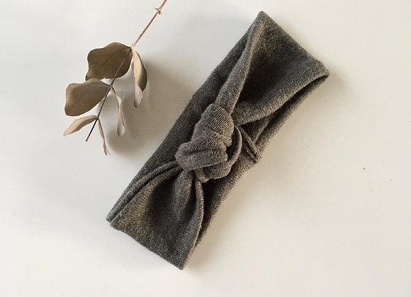 Bandeau bébé/fille Noué laine douce «laine kaki»