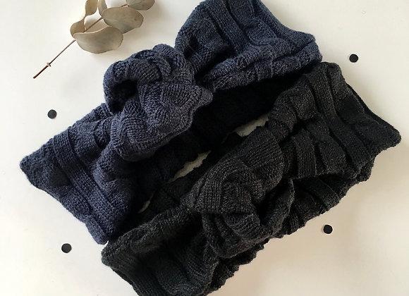"""Bandeau bébé/fille turban noué maille tricot  """"Noir et bleu marine"""""""