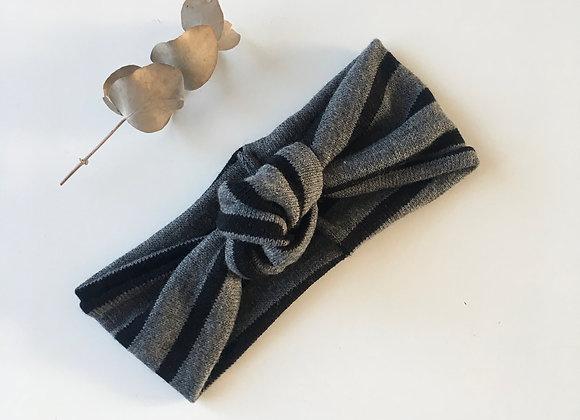 Bandeau bébé/fille Noué laine douce «Gris/rayures noires»