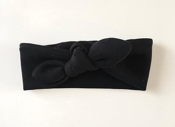 Bandeau/headband noeud molletonné «Noir»