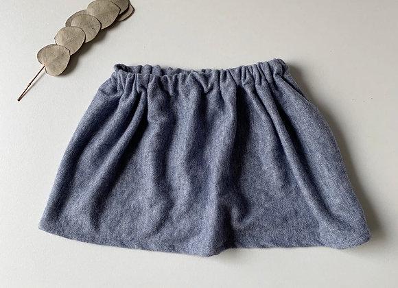 """Jupe bébé/fille laine douce """"Bleu horizon"""""""