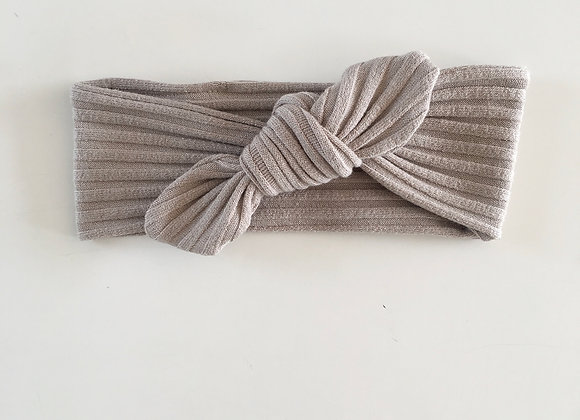 "Bandeau/headband noeud  cotelé ""Taupe"""