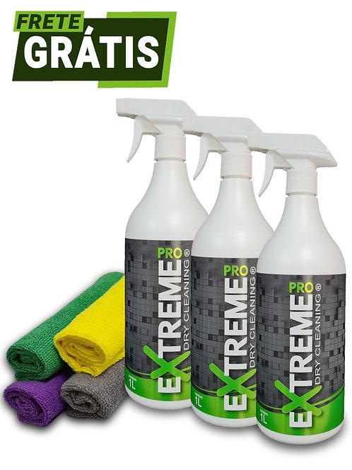 Kit extreme Pro 3 frascos de 1 Litro + 4 Microfibra (Para Até 30 Lavagens)
