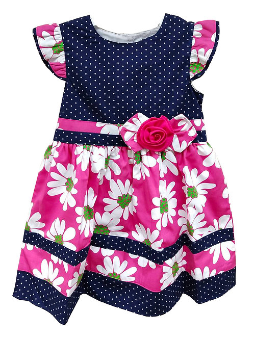Dress - Navy/Pink
