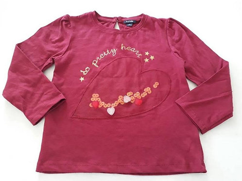 KKF 2232 - GIRLS TOP WITH CHEST HEART EMBROIDERY AND SEQUENCE