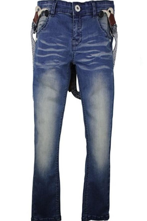 W24755: jeans with suspenders