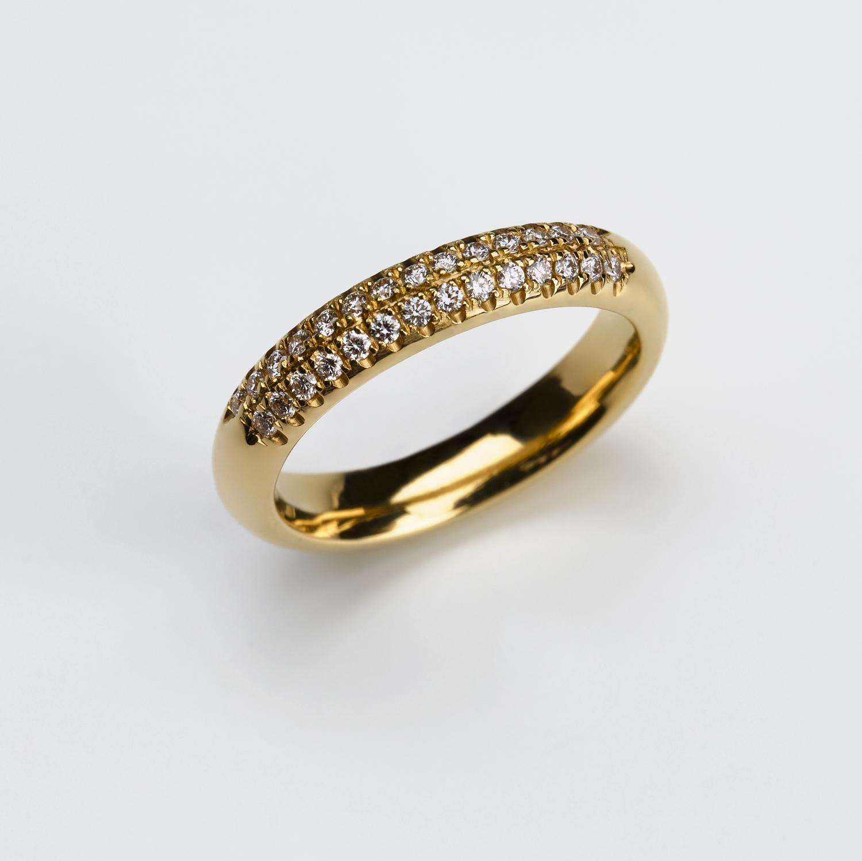 R-010 Verlobung Ring 750 Gelbgold mit 0.