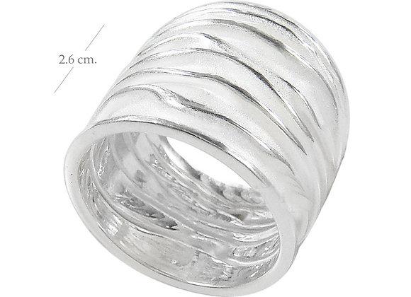 Ring, geknautscht, breit, sandgestrahlt