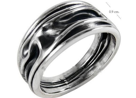 Ring, geknautscht, schmal, oxidiert