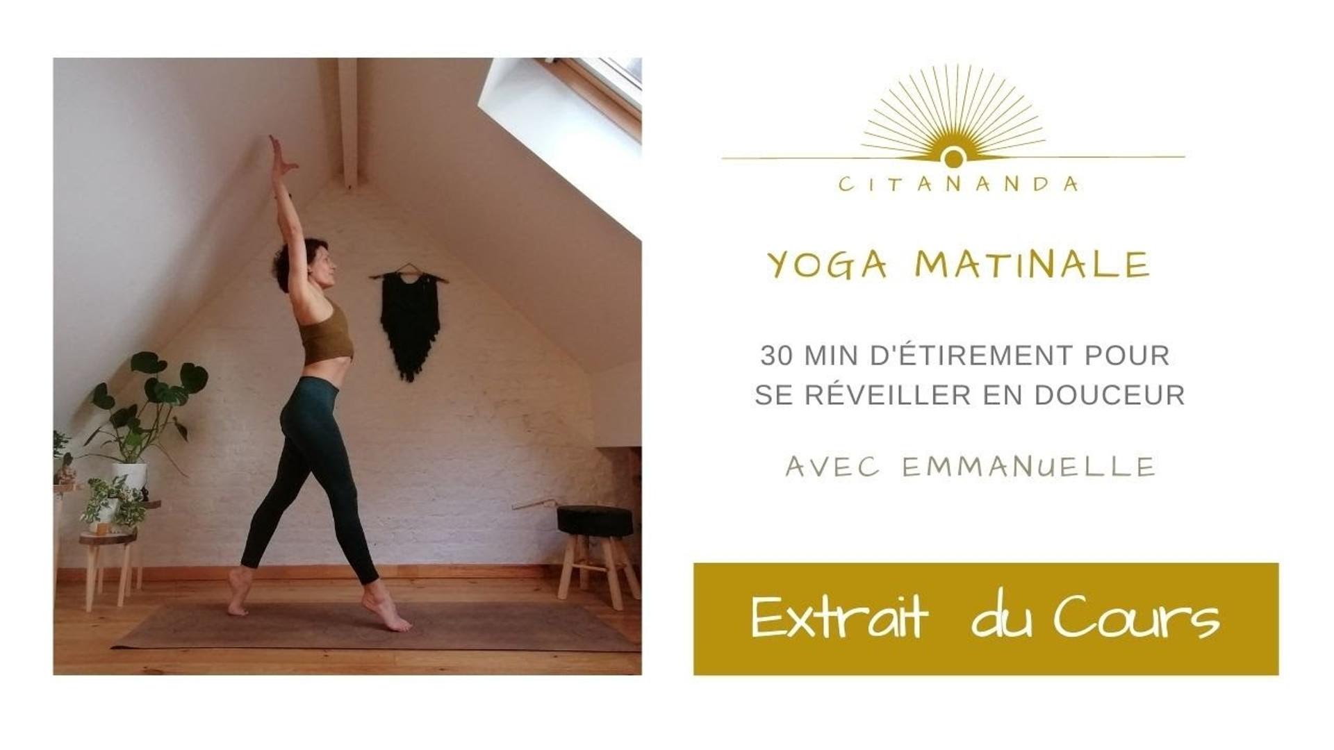 Je m'appelle Emmanuelle et je vous guide au cours d'une séance de yoga matinale qui vous permettra d'étirer le corps tout progressivement. Vous pouvez aussi utiliser cette séquence après un gros effort physique afin de permettre à vos muscles de s'étirer et se détendre.